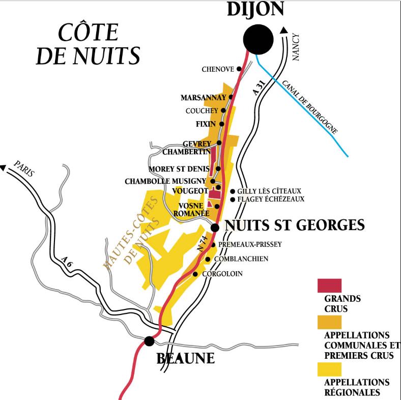 Côte de Nuits en Bourgogne, carte